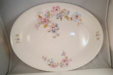 Vintage Edwin Knowles Semi Vitreous China Oval Serving Platter Pink Blue Flowers