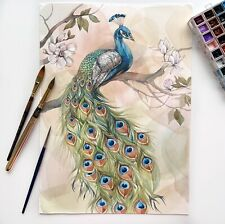 Original watercolor painting. Peacock on the magnolia branch.