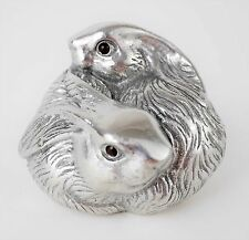 Arthur Court Bunny Rabbit Couple Family Paperweight Sculpture Figure Red Eyes