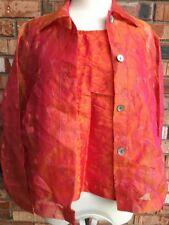 Lisbeth Womens Sz M Tank & Button Front Silk Shirt Orange Pink Changeable Color