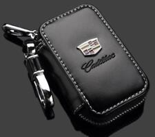 K-KB Genuine Leather Cadillac Car Key Chain Coin Holder Zipper Case Remote Fob