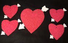 5 Euc Vintage Valentine's Day Hearts Plastic Popcorn Decorations 1 Large 4 Mediu