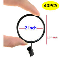 "2"" Inch Drapery Window Curtain Rings With Clips Black Metal Good Quality 40 Pcs"