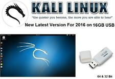 Kali Linux New Latest Version 2016 Ethical Hacking on 16GB USB: 64 & 32 Bit