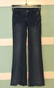 Vtg GANG RIO Jeans Brazilian Sz 36 (2Am) Women's Pants Butt Lifting Rhinestones