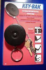 KEY BAK  MODEL#5B -  BLACK Key Ring  Caddy  Retractor  CLIP-ON
