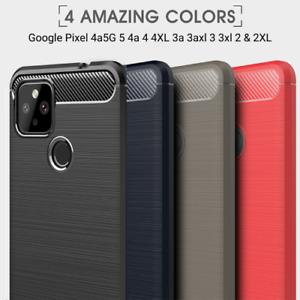 Google Pixel 6 5 4a5G 4a 4 4xl 3a 3 3XL Pro Carbon Fibre Brushed Gel Case Cover