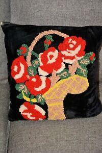Vintage Velvet Pillow with Chenille Basket of Flowers