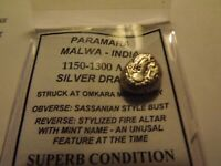 1150-1300 AD Paramara Malwa-India ExcelleSilver Billion Drachm Superb Condition2