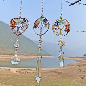 Hanging Crystal Suncatcher Life Tree Stone Beads Prism Pendant Home Ornaments