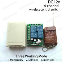 DC12v 4 CH Channel Wireless RF Remote Control Switch Relay Transmitter Receiver