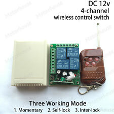 DC 12V 4CH Channel Wireless RF Remote Control Relais Switch Transmitter+Receiver