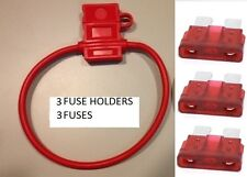 (3) 16 GAUGE ATC FUSE HOLDER With Cover + (3) 10 AMP FUSES IN-LINE 16 AWG COPPER