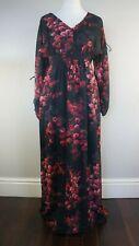 PHASE EIGHT Maxi Dress Black Floral V Neck Long Split Sleeves Boho Occasion 10