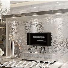 UK 10m Luxury Silver 3d Victorian Damask Embossed Wallpaper Rolls Home Art Decor