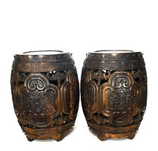 Fabulous Pair of Old Chinese Solid Xiaoye Zitan Highly Hand Carved Round Stool