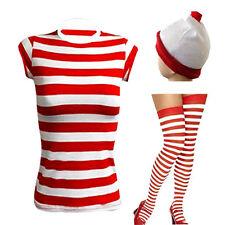 New womens Ladies Wheres Wally Stripe Fancy Dress Fresher Costume Book Day