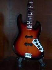 Mini Guitar JACO PASTORIUS Sunburst JAZZ Bass GIFT Memorabilia FREE STAND Art