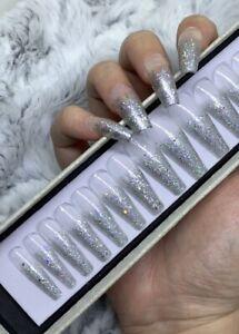 Holo Silver Glitter Tipped  Press On False Fake Extra Long Ballerina Nails Set