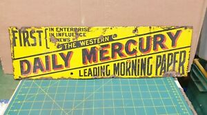 THE WESTERN DAILY MERCURY ENAMEL ADVERTISING SIGN - VINTAGE PLYMOUTH NEWSPAPER