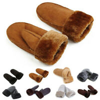 Women Real Sheepskin Mittens Gloves Fur Trim Leather Winter Warm Warmer Glove
