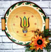 Vintage Folk Art Primitive Bavarian Painted Round Wood Serving Tray w/ Handles