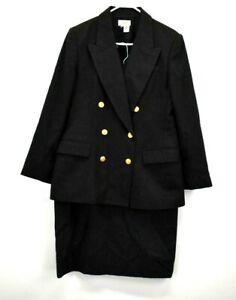 Talbots Women's Suit Blazer Jacket & Long Skirt 100% Wool 2 Piece Suit Set Gray