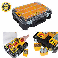 Dewalt Tool Storage Case Box Durable Hard Plastic Toolbox Organizer w/ Clear Lid