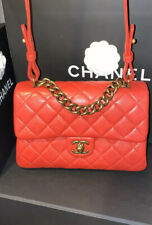 Chanel Paris Quilted Flap Red Leather CC Logo Top Handle 2Way Bag Purse Full Set