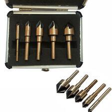 5pcs Tri-Flat M2 HSS Industrial Cobalt Countersink Drill Bit Set Chamfer Cutter
