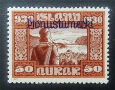 nystamps Iceland Stamp # O63 Mint Og H $170 J15y970