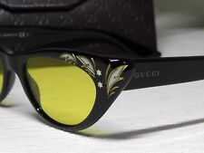 Gucci GG3807/S Black Frame 807HO Yellow Lens Cat Eye Sunglasses 50 17 145*Italy*