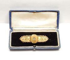 Gold diamond bar brooch victorian 15 carat 6.9 grams