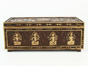 Antique Chinese Collection Gilt Copper Buddhist Relic Box