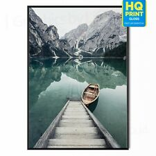 Boat In The Lake Photo Beautiful Landscape Poster Print | A5 A4 A3 |