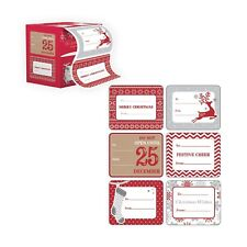 Jumbo Xmas Tag Stickers 60 Count Modern Red, White, Silver, and Gold Xmas.