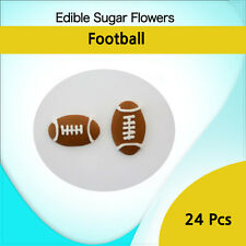 Edible Sugar Flowers 24 Football  Cakes Cupcake Decorations Toppers Flowers