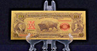 """1899 """"GOLD""""$10 BISON GOLD CERTIFICATE Rep.*Banknote~STUNNING DETAIL"""