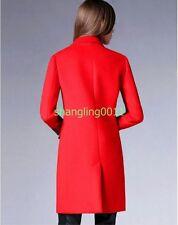 Womens Elegant Slim Lapel Collar Wool Cashmere Trench Coat Jacket Outwear Wind