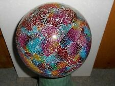 Gazing Ball Mosaic Glass Garden Globe Statue Yard Lawn Patio Decor W/Stand Base