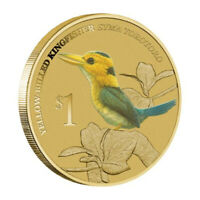 2013 Birds Yellow-billed Kingfisher Tuvalu $1 Dollar Coloured UNC Coin Carded