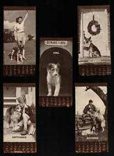 "Neat Mem-O-Dex Dog Calendars 1945: Christmas School Boy Gal Young Man & ""Beware"""