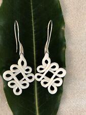 Earrings Sterling Silver Hook.Fake Gauge Carved Bone Celtic Weave Tribal Dangle
