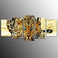 FRAMED Animal Canvas Art Prints Cheetah Wall Art Canvas Painting Home Decor-5pcs