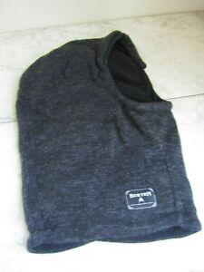 Burton Since 1977 Black/Gray Hood/Neck Warmer Fleece Lined Winter Hat