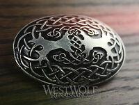 Large Celtic Tree of Life Oval Brooch --- Viking/Yggdrasil/Silver/Coat/Cloak Pin