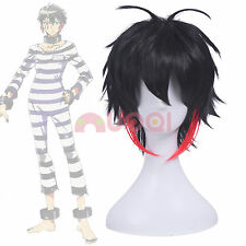 US Ship Nanbaka Detentionhouse Jyugo Black Mix Red Short Fluffy Cosplay Full Wig