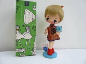 Vintage Big Eyes Stockinette Doll Cloth doll Japan  Rare  Retro Original Box