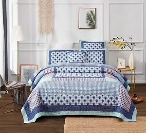DaDa Bedding Mediterranean Fans Nautical Minty Blue Patchwork Bedspread Set