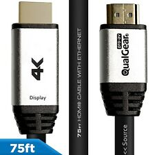 QualGear® 75 Ft High-Speed HDMI 2.0 Cable QG-CBL-HD20-75FT  with Ethernet, Black